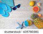 tropical summer vacation... | Shutterstock . vector #635780381