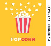 popcorn popping. red yellow... | Shutterstock . vector #635781569