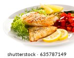 fried fish cod with vegetables... | Shutterstock . vector #635787149