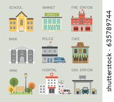 city object set. vector... | Shutterstock .eps vector #635789744