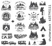 summer camp with design... | Shutterstock .eps vector #635795111