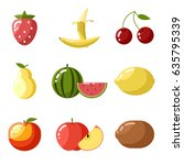 flat icons fresh fruit apple... | Shutterstock . vector #635795339