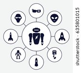 futuristic icons set. set of 9... | Shutterstock .eps vector #635801015