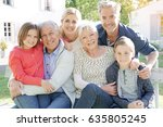 portrait of intergenerational... | Shutterstock . vector #635805245