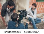 behind the scene. film crew... | Shutterstock . vector #635806064