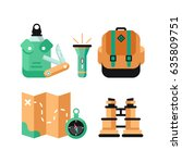 set of vector colorful hiking... | Shutterstock .eps vector #635809751