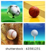 Collage Of Sport Balls Which...