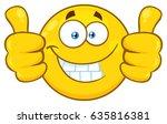 smiling yellow cartoon emoji... | Shutterstock .eps vector #635816381