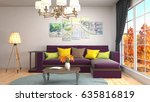 interior living room. 3d... | Shutterstock . vector #635816819