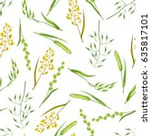seamless pattern with herbs and ... | Shutterstock .eps vector #635817101