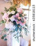 wooden pillar and large bouquet ... | Shutterstock . vector #635818115