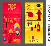 banners with firefighting items.... | Shutterstock .eps vector #635819984