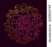 travel line icon circle design. ... | Shutterstock .eps vector #635826749