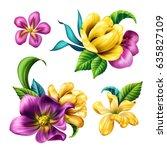 botanical illustration ... | Shutterstock . vector #635827109