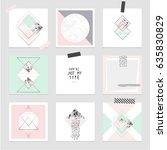 vector trendy geometric posters.... | Shutterstock .eps vector #635830829