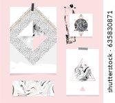 vector trendy geometric posters.... | Shutterstock .eps vector #635830871