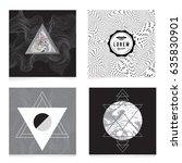 vector trendy geometric posters.... | Shutterstock .eps vector #635830901