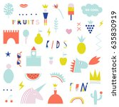 collection of summer symbols... | Shutterstock .eps vector #635830919