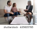 young couple and businesswoman... | Shutterstock . vector #635835785