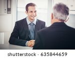 a candidate for a job talking... | Shutterstock . vector #635844659