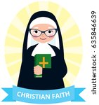 senior nun with a bible in hand ... | Shutterstock .eps vector #635846639