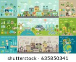 green city infographic set with ... | Shutterstock .eps vector #635850341