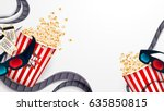 Set Of Popcorn  3d Glasses ...