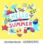 summer banner. beach season... | Shutterstock .eps vector #635852591