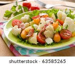 Vegetable salad with ham for dinner. Healthy and delicious! - stock photo