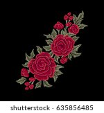 red chic roses. embroidery.... | Shutterstock .eps vector #635856485