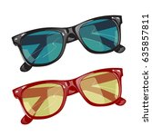 set of two sunglasses with... | Shutterstock .eps vector #635857811