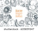fitness breakfasts and brunches ... | Shutterstock .eps vector #635859347