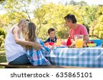 happy family interacting with... | Shutterstock . vector #635865101