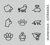 cat icons set. set of 9 cat... | Shutterstock .eps vector #635866061