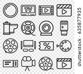 movie icons set. set of 16... | Shutterstock .eps vector #635877935