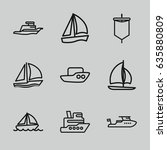 sail icons set. set of 9 sail... | Shutterstock .eps vector #635880809