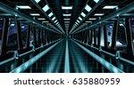spaceship black corridor with... | Shutterstock . vector #635880959