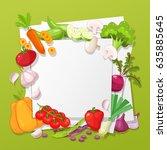 vegetables top view frame.... | Shutterstock .eps vector #635885645