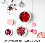 herbal rose tea  dry roses and... | Shutterstock . vector #635886425