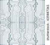 vector flat circuit board... | Shutterstock .eps vector #635887361