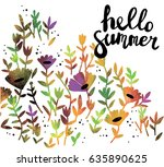 hello summer  sweet card with... | Shutterstock .eps vector #635890625