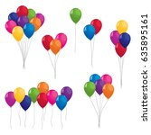 collection of colorful balloons | Shutterstock . vector #635895161