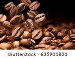 falling coffee beans. dark... | Shutterstock . vector #635901821