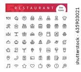 set of 56 restaurant line icons ... | Shutterstock .eps vector #635903021