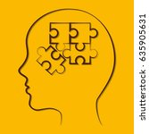 head with jigsaw puzzles icon | Shutterstock .eps vector #635905631