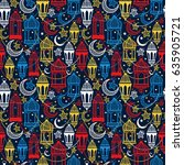 seamless pattern of ramadan... | Shutterstock .eps vector #635905721