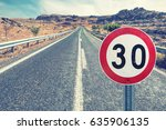 speed limit sign on the road... | Shutterstock . vector #635906135