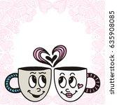 cute cartoon cups. hearts love. ... | Shutterstock .eps vector #635908085