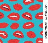 vintage red lips kiss seamless...   Shutterstock . vector #635908904