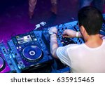dj mixes the track in the... | Shutterstock . vector #635915465